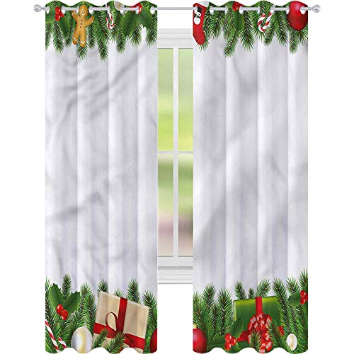 jinguizi Thermal Insulating Blackout Curtain Christmas Classic Tree Garland W52 x L72 Drape for Glass Door