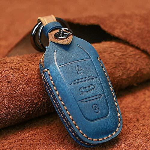 ZYTZK Para Peugeot 208308508 3008 5008para Citroen C4 Picasso DS3 DS4 DS5 DS6 Funda de Cuero Inteligente para Llave de Coche, Azul