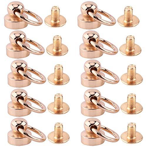10 piezas de remache, 1 x 0,9 cm / 0,39 x 0,35 pulgadas, tornillo de latón de construcción sólida para bolsos, cinturones, pulseras de cuero, zapatos, botas, bolsos, sombreros y mucho más