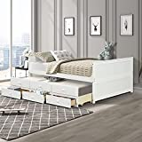 Solid Wood Captain's Bed,Full Daybed with Trundle and 3 Storage Drawers,White