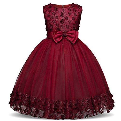 TTYAOVO Girl Princess Flower Bowknot Lace Baby Girls Wedding Christmas Party Dress 4-5 Years Red (Size 120)