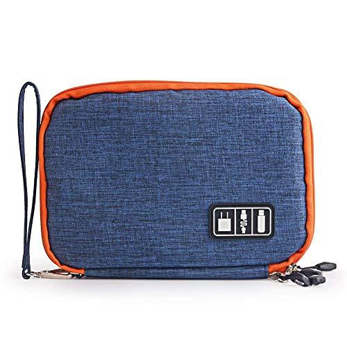 Universele kabel Organizer Tas voor Reizen en Huisraad Opslag, VieVogue Kleine Elektronica Accessoires Cases voor Verschillende USB-kabels Oortelefoon Oplader Telefoon, L 28 * 20 * 4.5 cm, Blauw