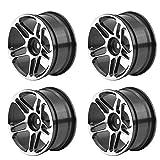 RC Coche Cubos de Rueda, 4 Pcs/Set Hubs Llantas de Ruedas Aleación de Aluminio Tire Tyre para 1:10 Drift Racing Control Remoto Coche Accesorios(Negro)