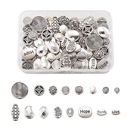 Beadthoven - 90 cuentas redondas tibetanas con 16 estilos, de aleación, plata envejecida, espaciador de metal para pulseras, collares y joyas