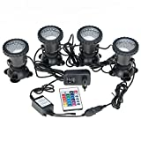 COVVY Waterproof Underwater Spot Lights Multicolour RGB Aquarium Lights with Remote Control for Garden Pond Fish Tank Swimming Pool,UK Plug (Set of 4 Lights)