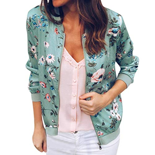 Womens Ladies Retro Embroidered Floral Zipper Up Bomber Jacket Casual Coat
