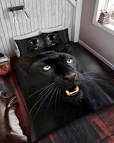 quest-mart ® Luxus 3D Bedruckte Bettwäsche Bettwäscheset, Bettbezug + Kissenbezüge Designs, alle Größe, Polycotton, schwarz, Doppelbett