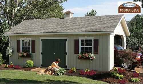 14 x 24 Keystone Wood Storage Shed Garage Building Kit - Beautiful Addition to any Yard