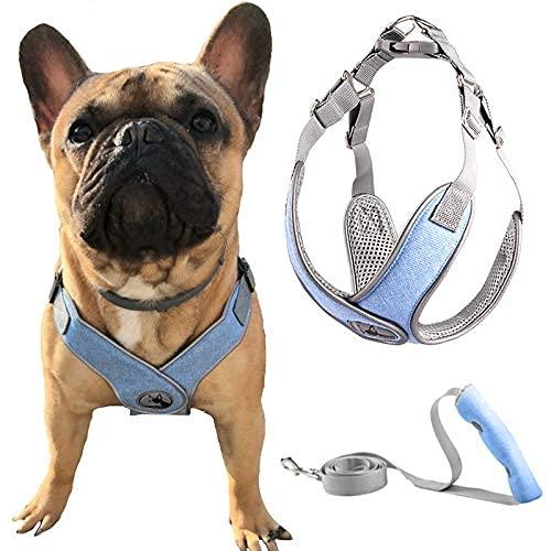 Arnés para perro sin tirón, arnés reflectante para mascotas y correa Set ajustable suave acolchado chaleco arneses correa para cachorros gatos..