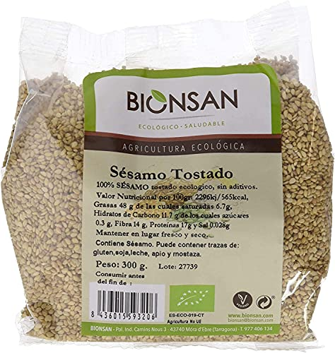 Bionsan Semillas de Sésamo Tostado Ecológicas | 6 Paquetes de 300 gr | Total: 1800 gr