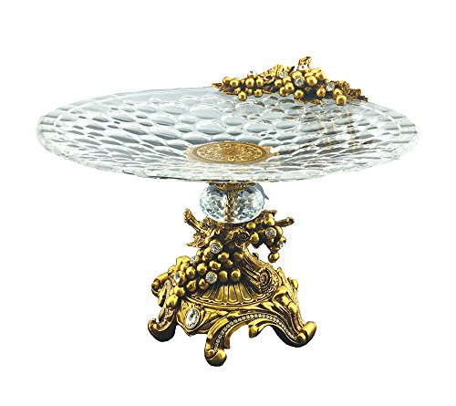 Three Star YW407 Sparkling Crystal Accented Round Dish on Base Center Piece Gold