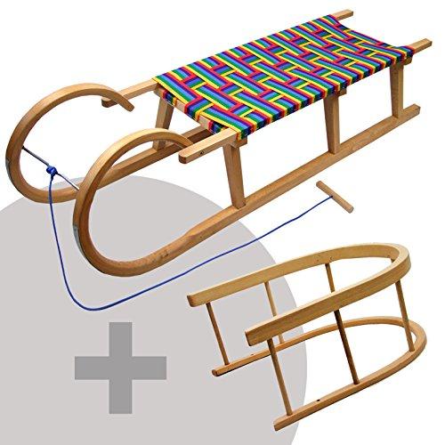 Unbekannt BAMBINIWELT Hörnerschlitten, Hörnerrodel mit Rückenlehne und Zugseil, Sitzfläche aus Kunstfasern,120cm, REGENBOGENDESIGN