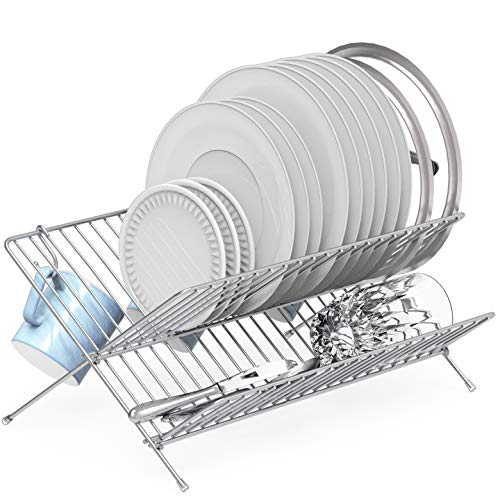 SimpleHouseware Collapsible Dish Drying Rack Chrome