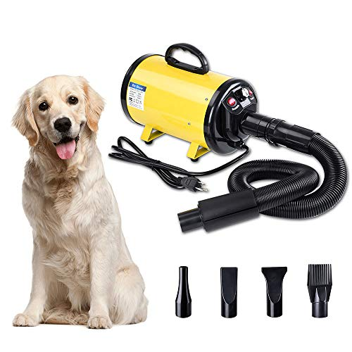 Yescom 2400W 3.2HP Pet Dog Cat Grooming Hair Force Dryer Quick Blower Heater Electrodeless Speed 4 Nozzles Yellow