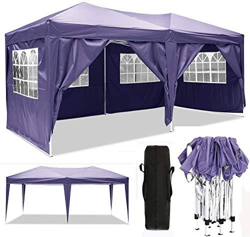 Serface Pavillon Faltpavillon 3x3/3x6 Wasserdicht Faltbare Gartenpavillon Festival Sonnenschutz Faltpavillon, UV-Schutz mit 4 Seitenteilen für Garten/Party/Hochzeit/Picknick (3x6m Violett)