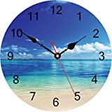 TAHEAT Azul Tranquilo Mar Reloj de Pared, Silencio Sin tictac Hermosa Cielo Playa Redondo Relojes Fácil de Leer Decorativo Reloj de Pared para Cocina Baño Sala de Estar Casa Arte Decoración, 34 cm