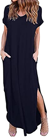 Fanyunhan Womens Summer Beach Loose Dress Gallus Short Sleeves Maxi Dress