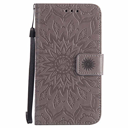 Lumia 640 Hülle, Dfly Premium Slim PU Leder Mandala Blume Prägung Muster Flip Hülle Bookstyle Stand Slot Schutzhülle Tasche Wallet Case für Nokia Microsoft Lumia 640, Grau