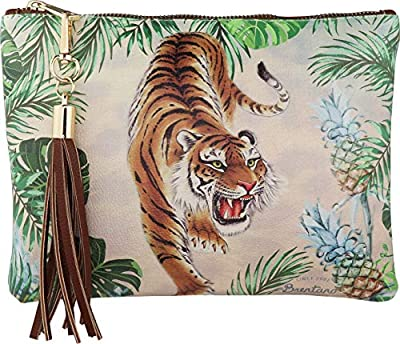 B BRENTANO Vegan Clutch Bag Pouch with Tassel Accent (Tropical Tiger)