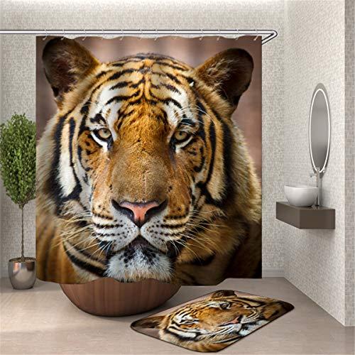 Chickwin Wasserdicht Duschvorhang Anti-Schimmel Antibakteriell 3D Tiger Löwe Drucken, 100prozent Polyester Karikatur Digitaldruck mit 12 Duschvorhangringe für Badezimmer (90x180cm,H)