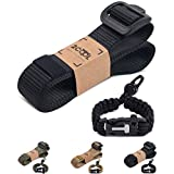Tactical Belt Set with Paracord Bracelet Non Metallic Buckle 1.5 inch Adjustable Size Duty Work Nylon Web Security Army Military Belts for Men and Women, Black