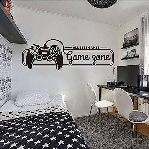 Zona de juegos de dibujos animados Todos los mejores juegos Etiqueta de la pared Sala de juegos Dormitorio Reproductor de videojuegos Gamepad Etiqueta de la pared Decoración de vinilo 112x37cm