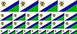 Mini Aufkleber Set - Pack glatt - 4x 51x31mm+ 12x 33x20mm + 10x 20x12mm- Sticker - Lesotho - Flagge - Banner - Standarte fürs Auto, Büro, zu Hause & die Schule - Set of 26
