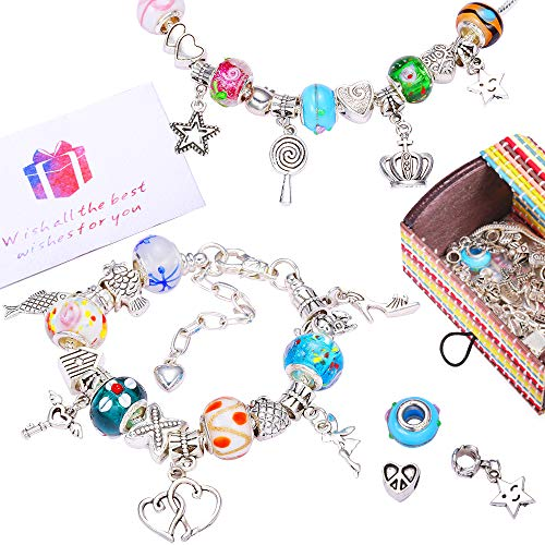 Charm Bracelet Making Kit DIY Craft Bead Silver Plated Snake Chain Jewelry Set, 45 Different Beads with 3 Silver Plated Snake Chains Charm Best Gift for Girls Teens