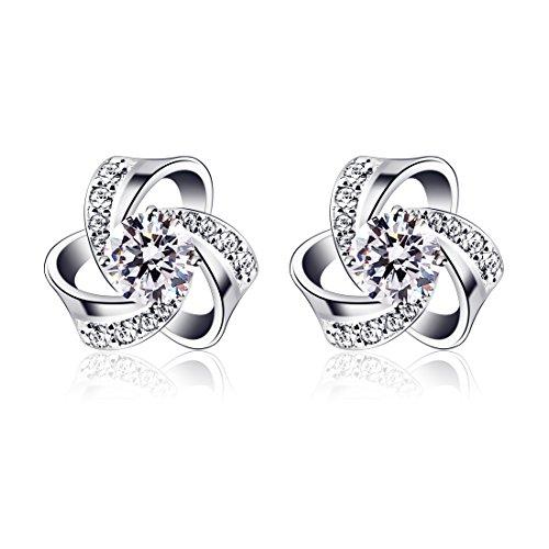 B.Catcher Women Jewellery Eternal Love Earrings Studs 925 Sterling Silver Cubic Zirconia Knot Stud Earing Set