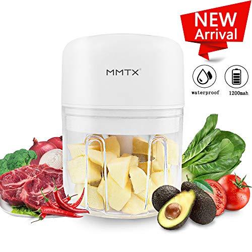 MMTX Mini Elektrisch Zerkleinerer Gemüsezerkleinerer Küchenmaschine Standmixer Elektrischer Mixer Universalzerkleinerer Gemüse Fleisch Fleischwolf zum Babynahrung USB Wiederaufladbare 3,7V 250ml