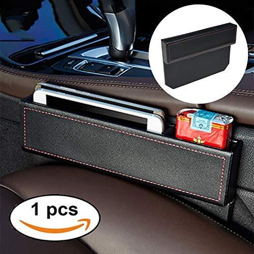 FancyAuto Organizer für Auto, Sitz Tasche Schlitz Tasche Aufbewahrungsbox Ablagefach mit PU Leder Kleinteile gutes autozubehör Geeignet für die meisten Autos - Schwarz