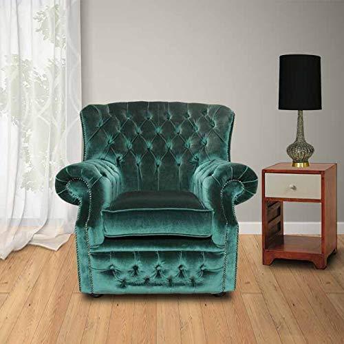 JVmoebel Chesterfield Samt Grün Ohrensessel 1 Sitzer Sessel Couch Sofa Fernsehsessel Neu
