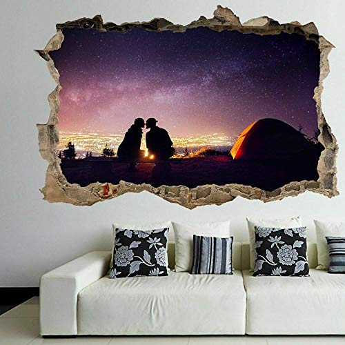 HUJL Pegatinas de pared Swan Sunset Wall Art Sticker Mural Decal with 3D Effect Self Adhesive Poster