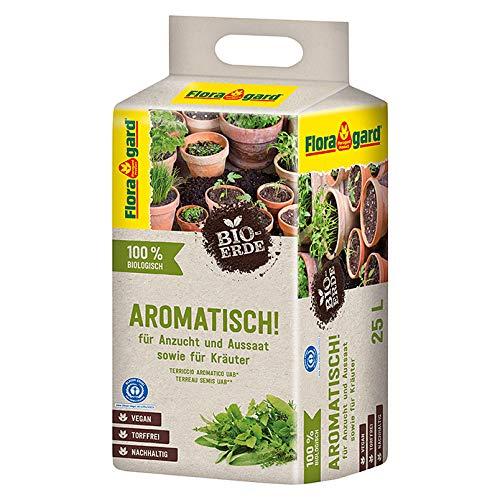 Floragard Vegane Bio-Erde (Aromatisch) für Kräuter und zur Aussaat und Anzucht 25 L