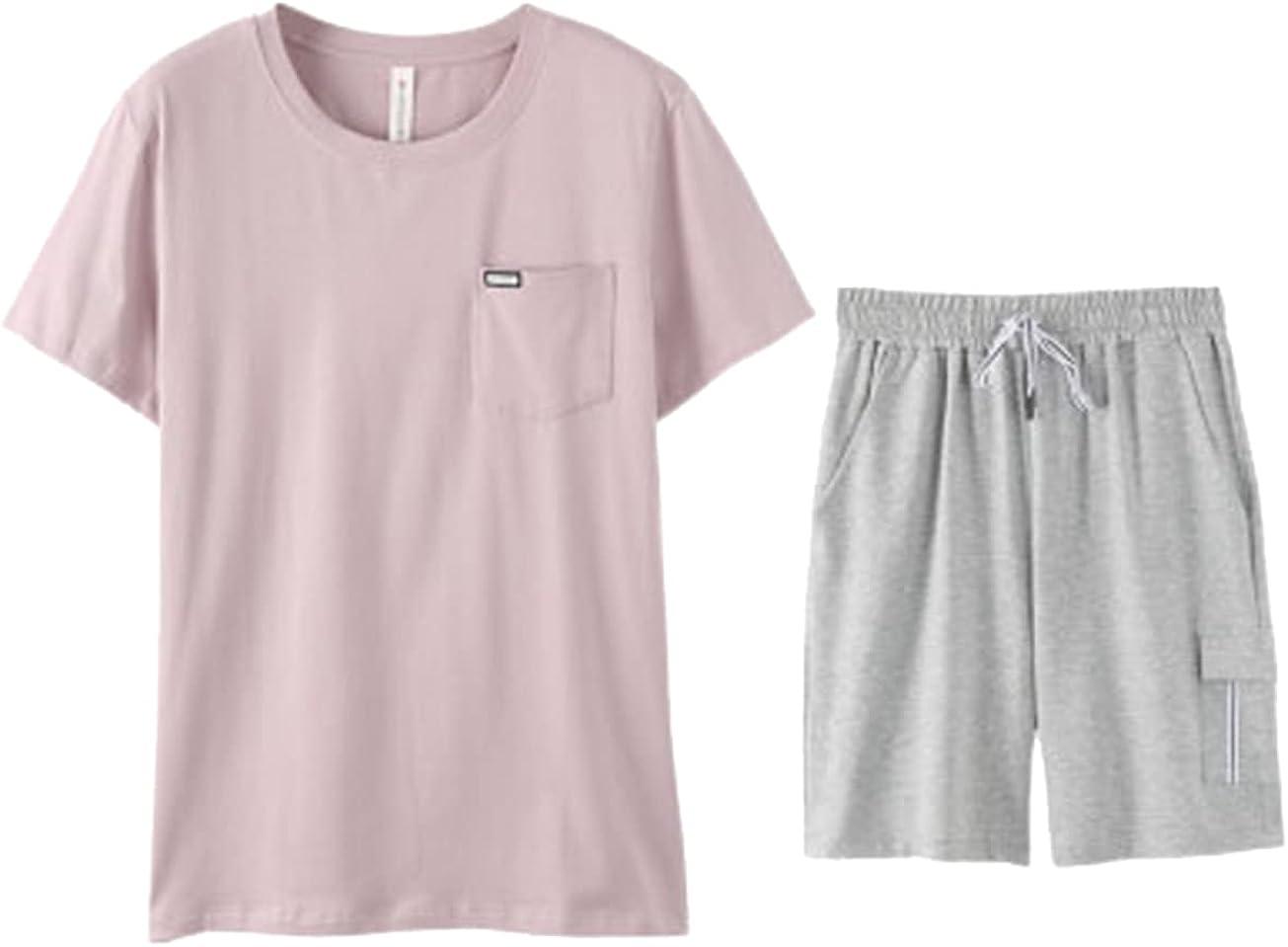 ft FENTENG Men Pajamas Set Short-Sleeved Sleepshirt Cotton Casual Shorts Pants for Home Sleepwear Suits