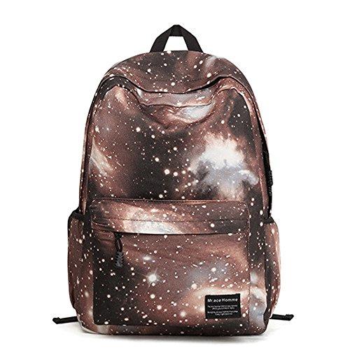 Minetom Damen Schulrucksack Nebel Star Universum Schulranzen Schultasche Rucksack Freizeitrucksack Daypacks Backpack Kaffee One Size