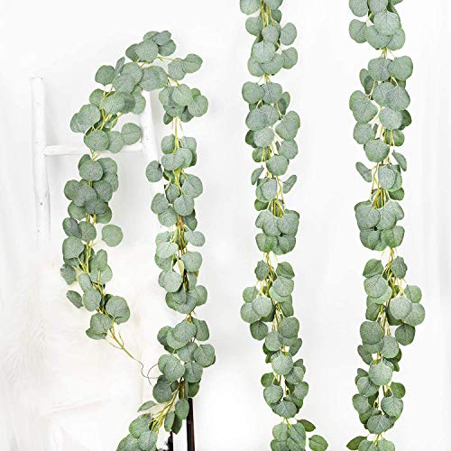 YQing 3 Pack Artificial Eucalyptus Garland Faux Silk Eucalyptus Vines Handmade Garland Leaves Greenery Wedding Backdrop Arch Wall Decor