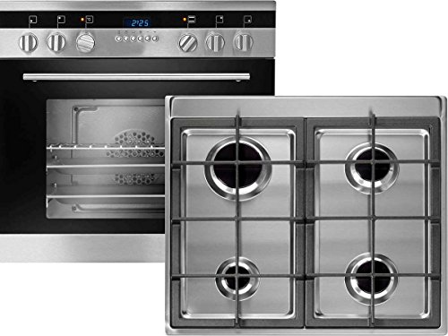 Oranier Set Einbauherd Ofen EHG 3020 + Edelstahl Gas Kochfeld EMS 4 Kochmulde