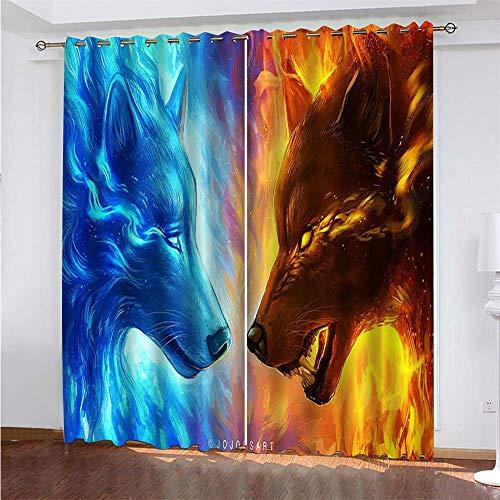 YUNSW Wolf Muster 3D Digitaldruck Polyester Faservorhänge, Wohnzimmer Küche Schlafzimmer Verdunkelungsvorhänge, Perforierte Vorhänge 2-teiliges Set