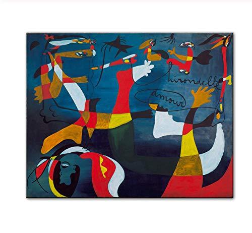 NIUYHFU Nacimiento del Mundo Pinturas en Lienzo Imprimir en Lienzo Famosos lienzos Láminas por Joan Miro Cuadros de Pared Decoración del hogar Cuadros