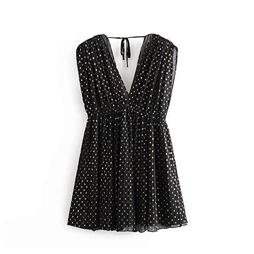NVDKHXG Vrouwen vintage polka dot geplooide chiffon jurk diepe v-hals mouwloze korte mini-jurken elastische taille zomer overgooiers