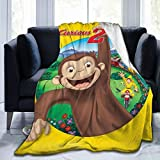 Nedrodapphire Curious George Cartoon Ultra Soft and Fluffy Throw Blanket Flannel Fleece All Season Light Weight Living Room/Bedroom Warm Anti-Pilling Cozy Throws for Home Blanket,Black,50'X40'