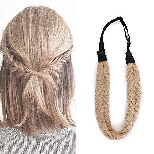 Braids Extensions Stirnband Haarband geflochtene Haarverlängerung Haarteil verstellbare Stretch Französisch Flechten Haar Beauty-Accessoire für Frauen Dark Blonde Mix Bleichblond Stil B-Lose