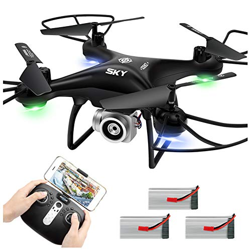 WGXQY Wifi FPV 4K HD Camera,Real-Time Video Portable Drone Wtih App Control,Headless Mode,3D Flip,One Button Take Off/Landing,Suitable for Kids And Beginners,Black