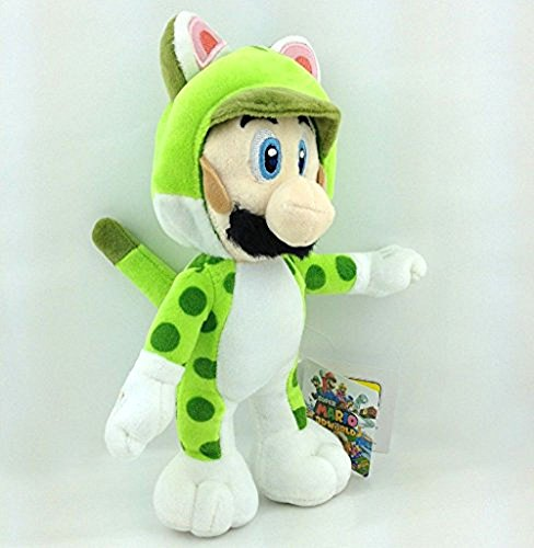 """Super Mario Bros Plush Anime 9.4"""" /24cm Green Cat Luigi Doll Stuffed Animals Cute Soft Collection Toy Best Gift for Kids"""