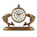 Reloj de sobremesa, Esfera con números árabes, decoración de Peces, Reloj para Chimenea, Cobre Chapado, Reloj de Escritorio Retro, Escritorio silencioso, Alimentado por batería (Color: latón)