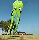 APZ Bumblebee 3D 26ft Ultra Large & Fun Octopus Foil Kite with Handle & Line, Beach Park Outdoor Fun (Yellow)