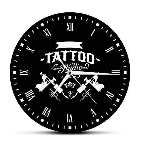 Wangzhongjie Estudio De Tatuaje Máquina De Tatuaje Reloj De Pared Moderno Salón De Tatuajes Decoración De La Tienda Reloj Redondo Negro Reloj Hipster Hombres Tatuador Regalo