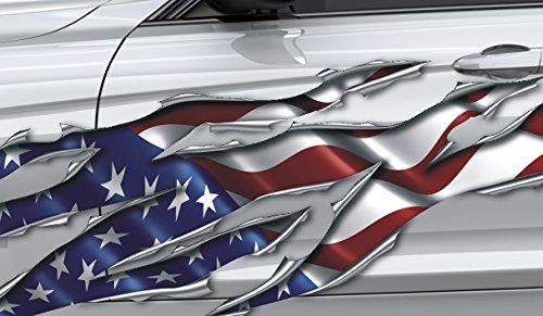 3D Autocollant pour Voiture, Sidedecor: 3D Métal - Drapeau américain - 220 cm