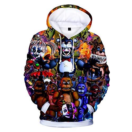 FNAF Hoodie Shirt Five Nights at Freddy's 3D-gedruckten Pullover Hoodie Sweatshirt Unisex Comic Print Kordelzug Langarm Hoodie Jacke Mantel Pullover für Kinder Erwachsene